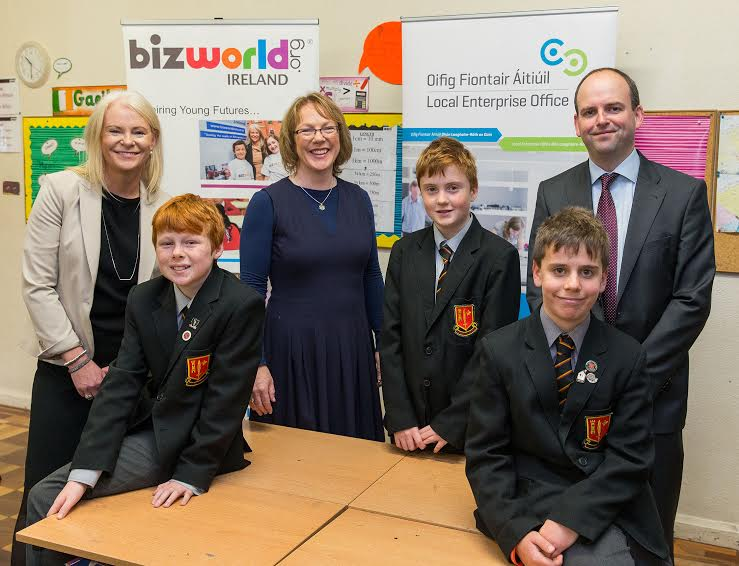 8th October 2015 -  Dun Laoghaire, Co. Dublin - Pictured in sixth class at Monkstown Park Junior School, Dublin where the Local Enterprise Office, in conjunction with BizWorld, is staging a series of enterprise workshops for primary schools in Dun laoghaire-Rathdown County during the current school year, were, left to right, Fiona McKeon, Chief Executive, BizWorld Ireland.Jamie McDonald.Eibhlin Curley, Head of Enterprise, Local Enterprise Office, Dún Laoghaire-Rathdown County Council. Kevin Gleeson.Cillian Kenny.Michael Hayden, Business Advisor, Local Enterprise Office, Dún Laoghaire-Rathdown County Council. Photo by Peter Cavanagh [Must Credit]No Reproduction Fee
